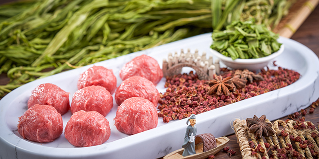 Mala Beef Balls with Dried Gong Choi, Megan
