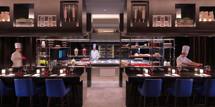 Open Kitchen Interior of Ash & Elm in InterContinental Singapore in Bugis, Singapore