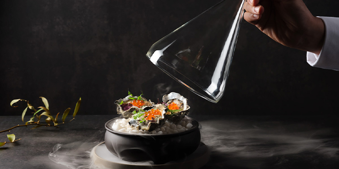 Fanny Bay oysters in hua diao wine, ikura, bonito from Man Fu Yuan in InterContinental Singapore in Bugis, Singapore