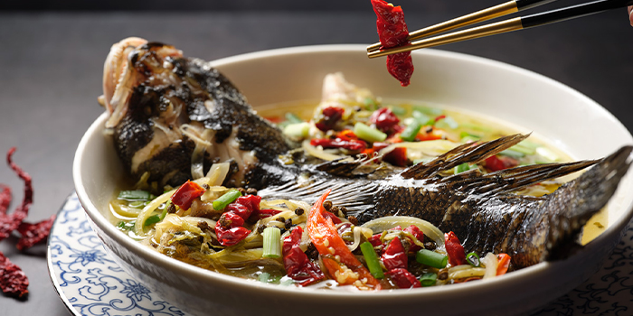 Poached marble goby fish, mala green peppercorns, chilli, salted vegetables broth from Man Fu Yuan in InterContinental Singapore in Bugis, Singapore