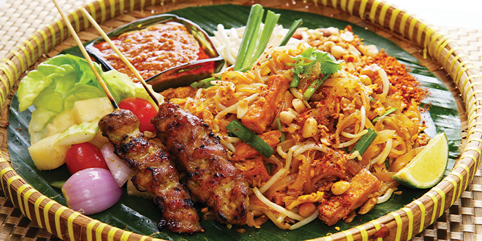 Phad Thai w Satay from Bali Thai (Causeway Point) at Causeway Point in Woodlands, Singapore