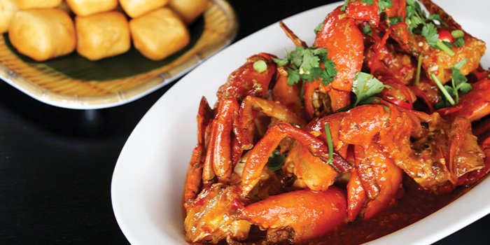 Wok Fried Singapore Chilli Crab from Asian Market Cafe at Fairmont Singapore in City Hall, Singapore