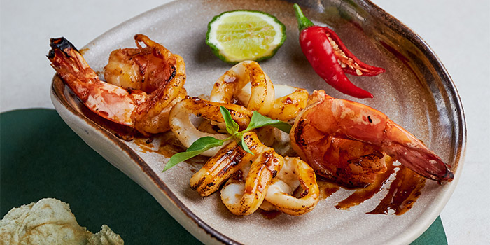 Char Grilled Ocean Prawn Squid from Table At 7 at SIM Management House in Bukit Timah, Singapore