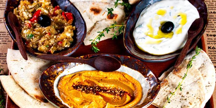 Food from Avra Greek & Georgian Restaurant in Bangkok, Thailand.