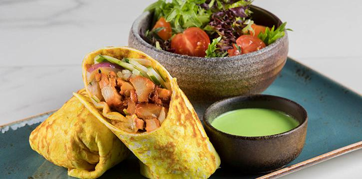 Grilled Tandoori Organic Lacto Chicken Tortilla from Hilton All-Day Pop-Up Restaurant along Orchard Road, Singapore