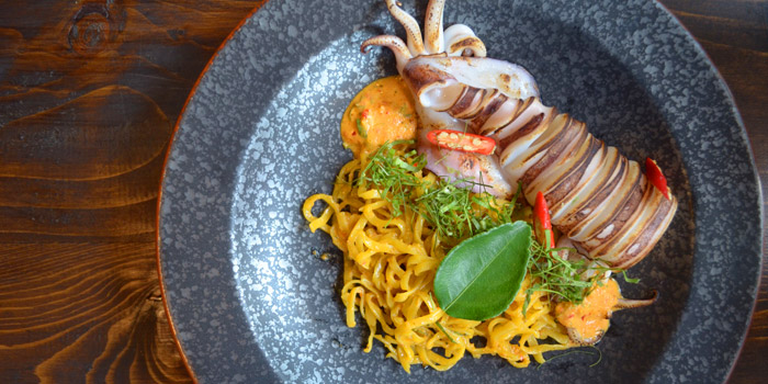 Grilled Squid with Noodle from Best Country Beef Steakhouse at The BOB Design-Led Hostel 112/6 Soi Sukhumvit 63, Khlong Tan Nua, Wattana, Bangkok