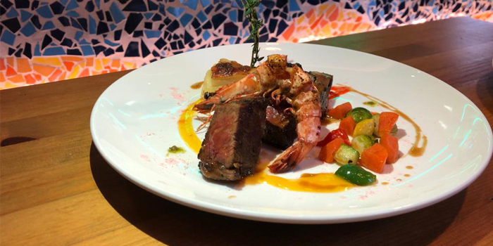 Pan Seared US Prime Striploin and Tiger Prawn with Red WIne Gravy, Warren, Tai Hang, Hong Kong