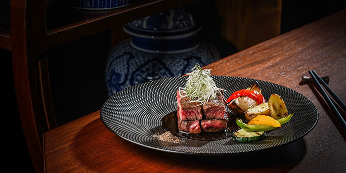 Oolong Smoked Sumiyaki Australia MB 7 Wagyu Beef at Twelve Chinese Dining