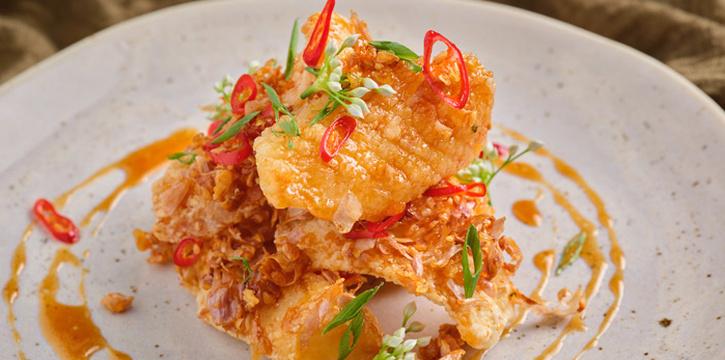 Stir-fried Fish with Garlic Chilli from Front Room at Waldorf Astoria Bangkok Lower Lobby, 151 Ratchadamri Road Bangkok