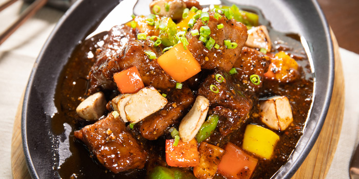 Wok Fried Wagyu & Foie Gras with Black Pepper from Spice & Barley at Anantara Riverside Bangkok Resort 257 Charoennakorn Road, Samre, Thonburi Bangkok