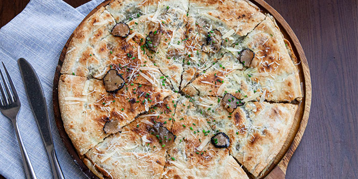 3 Cheese Spentgrains Truffle Focaccia Pizza from Brewerkz One Fullerton in Raffles Place, Singapore