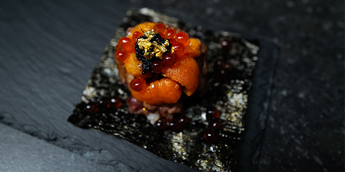 High Roller (F1 Wagyu, Uni, Ikura, Caviar, Gold Flakes) from Rappu Handroll Bar in Tanjong Pagar, Singapore
