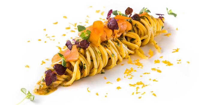 Hokkaido Sea Urchin Spaghetti, Sardinia Bottarga and Yuzu Juice from il Cielo at Hilton Singapore in Orchard, Singapore