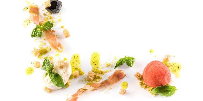 Bruschetta al Pomodoro e Burrata - Burrata Cheese, Datterini Tomato Sorbet, Basil Crumbles, Parma Ham, Balsamic Butter from il Cielo at Hilton Singapore in Orchard, Singapore
