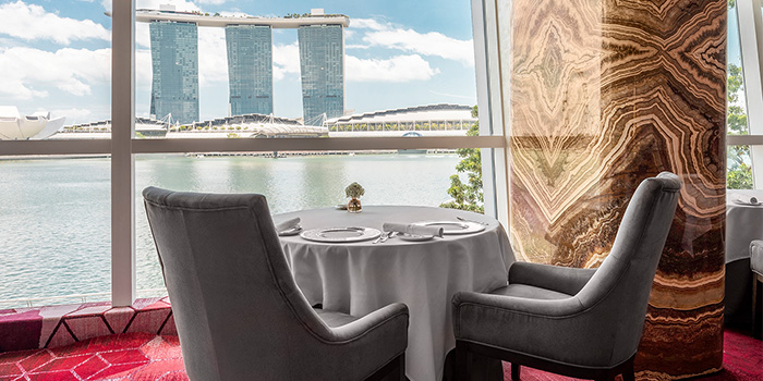 Table View from Saint Pierre in One Fullerton in Raffles Place, Singapore