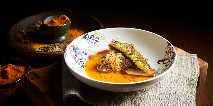 Red Sea Bream with 13 Spice Curry Broth from 15 Stamford by Alvin Leung at The Capitol Kempinski Hotel in City Hall, Singapore