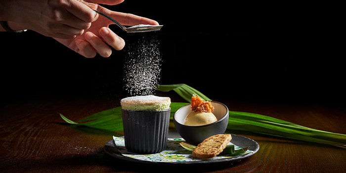 Pandan Soufflé from 15 Stamford by Alvin Leung at The Capitol Kempinski Hotel in City Hall, Singapore