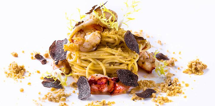Homemade Capellini Maine Lobster, Thyme Butter Sauce, Porcini Crumble, Black Truffle from il Cielo at Hilton Singapore in Orchard, Singapore