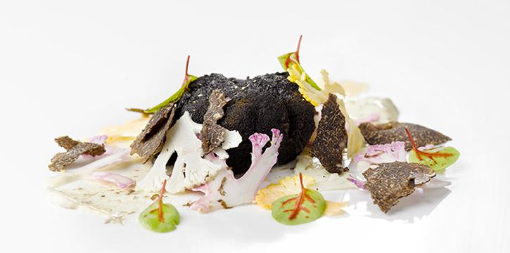 Charcoal - Crusted Hokkaido Scallop, Italian Black Truffle & Organic Japanese Cauliflower Salad from il Cielo at Hilton Singapore in Orchard, Singapore