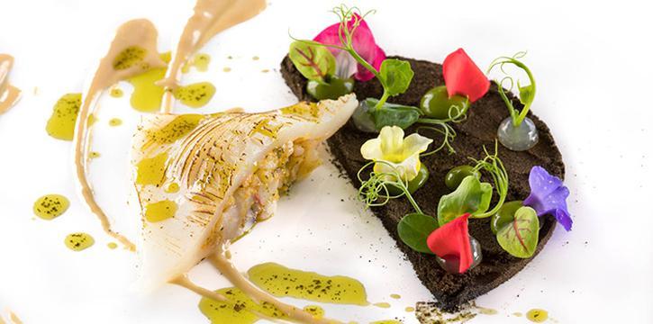 Grilled Italian Squid, Stuffing Viareggio style Prawn, Bagna Cauda Cream Sauce, Squid Ink Herb Powder from il Cielo at Hilton Singapore in Orchard, Singapore