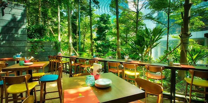 Interior of TONITO Latin American Kitchen at Jewel Changi Airport in Changi, Singapore
